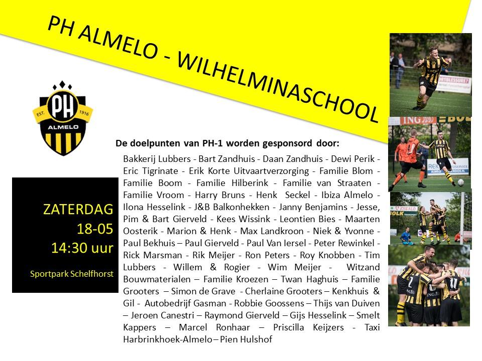 PH 1 Neemt Het Op Tegen Wilhelminaschool