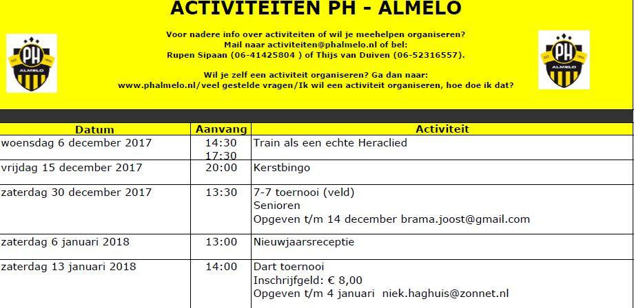 PH Agenda: December/januari